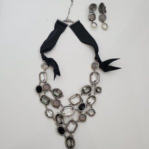 AUTH SWAROVSKI crystal necklace & earrings set